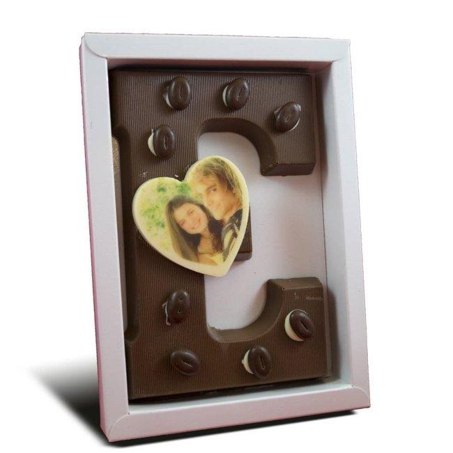 Chocolade letter met foto hartje 225 gr