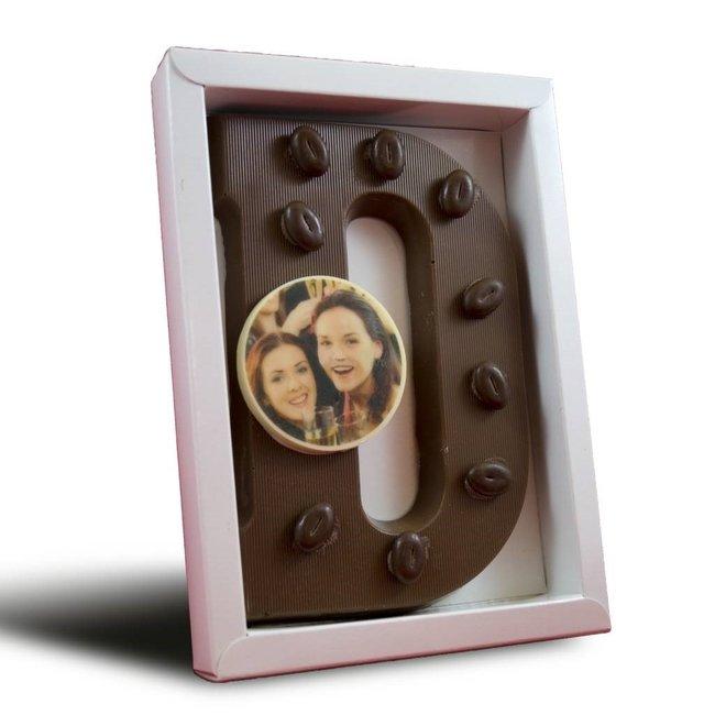 Chocolade letter met foto of logo rondje 225 gr