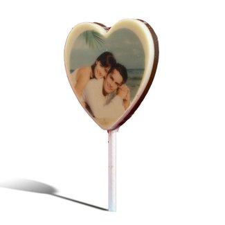 Chocolade lolly hart met foto of logo 5 stuks