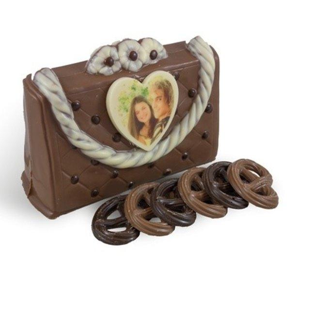 Gevulde chocolade handtas met foto of logo hartje