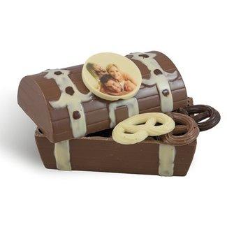 Gevulde chocolade schatkist met foto of logo