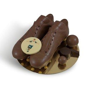 Chocolade voetbalschoenen met logo of foto
