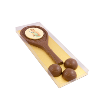 Chocolade Tennis set met foto of logo ca 300 gram