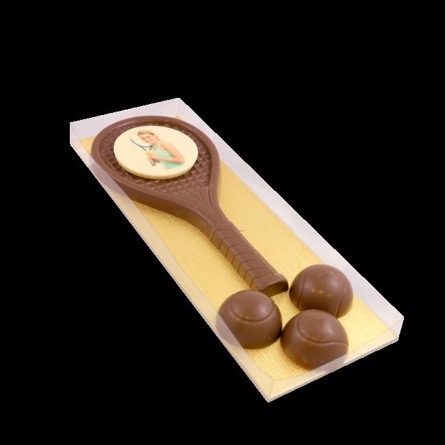Chocolade Tennis set met foto of logo ca 300 gram