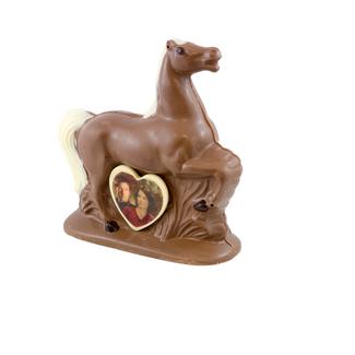 Chocolade Paard 20 x 20 cm met foto of logo