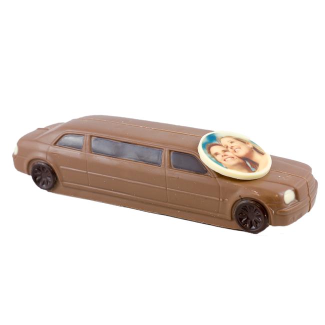 Chocolade auto Limousine 25 x 10 x 8 cm met foto of logo