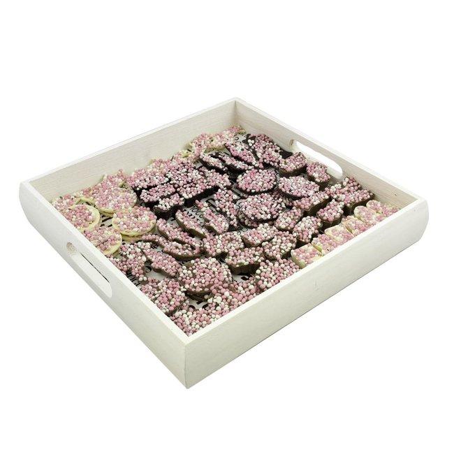 Chocolade Geboorte assortiment ROZE 1000 gram incl. dienblad