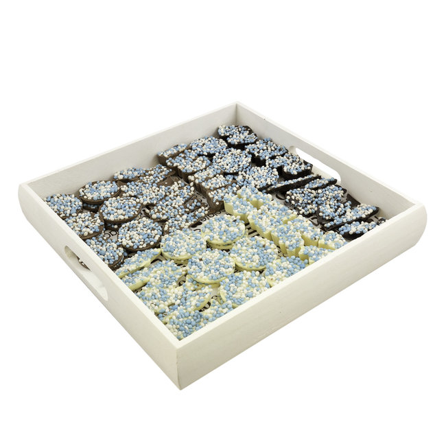 Chocolade Geboorte assortiment BLAUW 1000 gram incl. dienblad