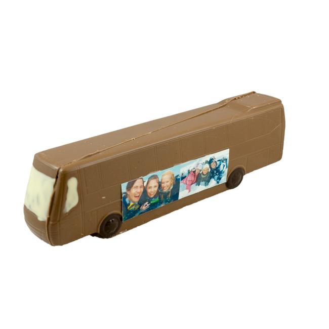 Chocolade Bus 26 x 6 x 5 cm met foto of logo