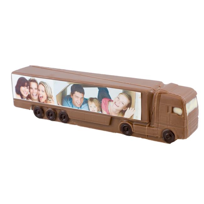 Chocolade vrachtauto 25 x 6.5 x 5 cm met foto of logo