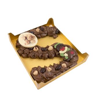 Chocolade spuitletter Large met foto of logo ca. 350 gram