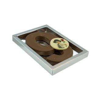 Chocolade dikke cijfer met foto of logo 200 gram