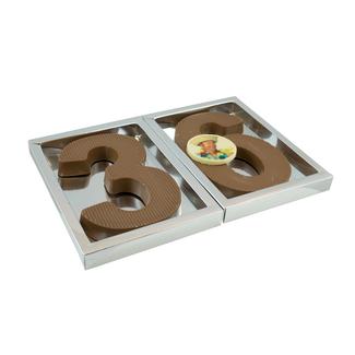 Chocolade dubbele dikke (400 gram) cijfer met foto of logo