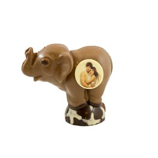 Chocolade olifant 16 x 18 x 10 cm met foto of logo