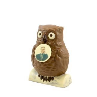 Chocolade Uil met foto of logo 20 cm
