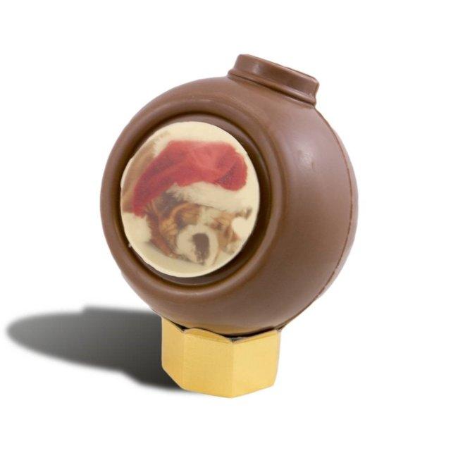 Chocolade kerstbal 20 cm met foto