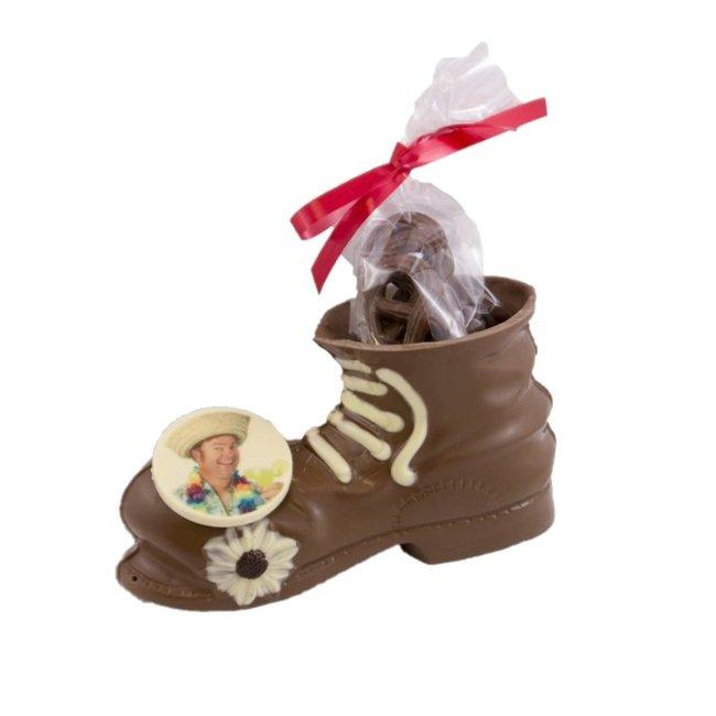 Chocolade heren schoen (Hoog) met foto of logo 225 gr