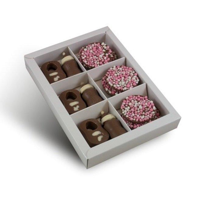 Chocolade tutjes & slabbetje met roze flikken