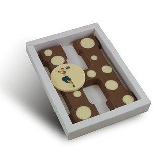 Chocolade letter met stippen en ronde foto 225 gr