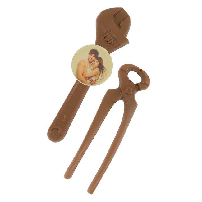 Chocolade Tangen 21 cm met foto of logo