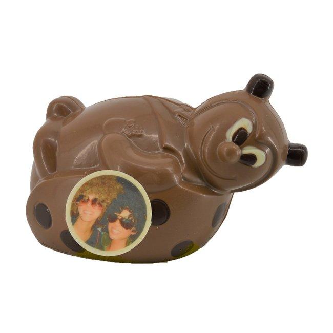 Chocolade Lieveheersbeestje 17 cm met foto of logo