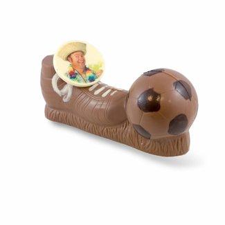 Chocolade voetbalschoen met bal 20 x 6 x 8,5 cm met foto of logo
