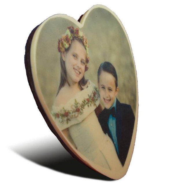 Chocolade Moederdag hart met foto 17 x 15 cm