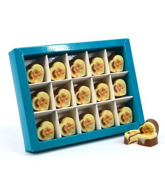 15 stuks chocolade bonbons hartje met foto of logo