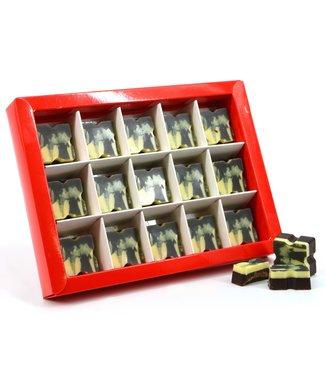 15 stuks chocolade bonbons vierkant (PUUR) met foto of logo