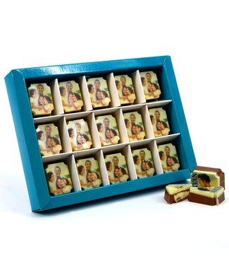 15 stuks chocolade bonbons rechthoek (MELK) met foto of logo