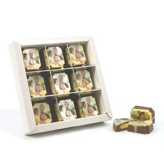 3 doosjes met 9 rechthoek bonbons met vulling