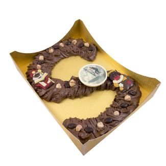 Chocolade spuitletter XXL (ca. 900 gram) met foto of logo