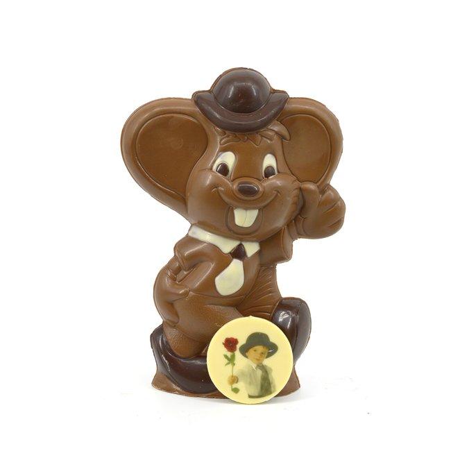 Chocolade Jerry de muis 23 cm met foto of logo