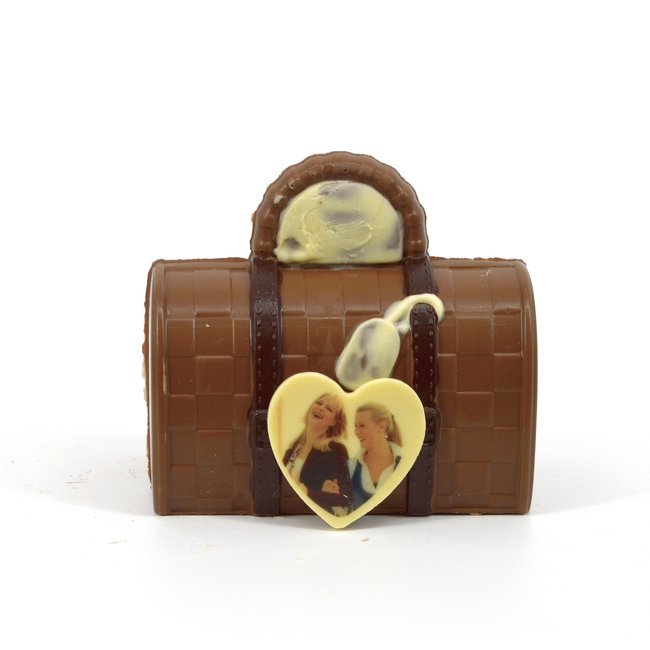 Chocolade Koffer 18 cm met foto of logo