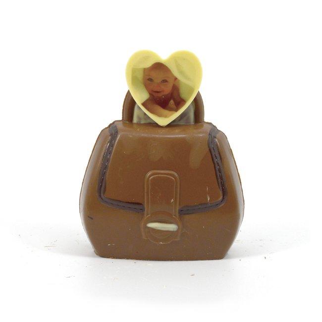 Chocolade Handtas 16 cm met foto of logo