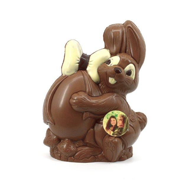 XL Chocolade Paashaasje 42 cm met foto of logo