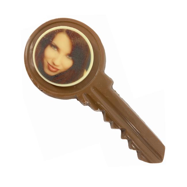 Chocolade sleutel met foto of logo 90 gr