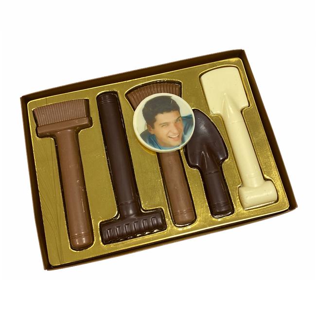 Chocolade tuingereedschap met foto of logo 225 gr