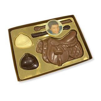 Chocolade paardrij set met foto of logo 225 gr