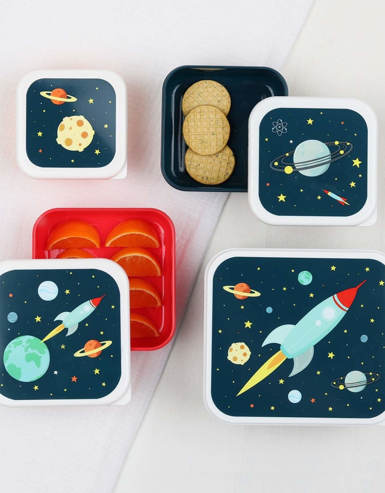 A Little Lovely Company Space lunch & snack box set
