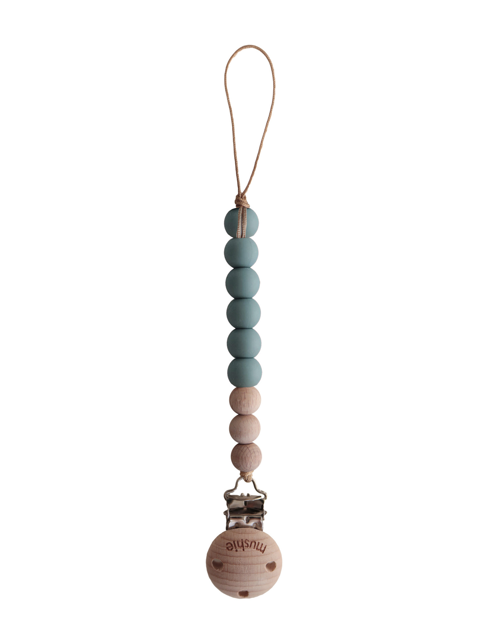 Mushie Pacifier Clip   Cleo (Cadet Blue)