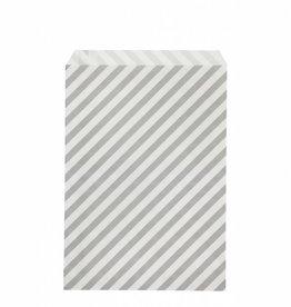 Ferm Living Sac papier à rayures gris L