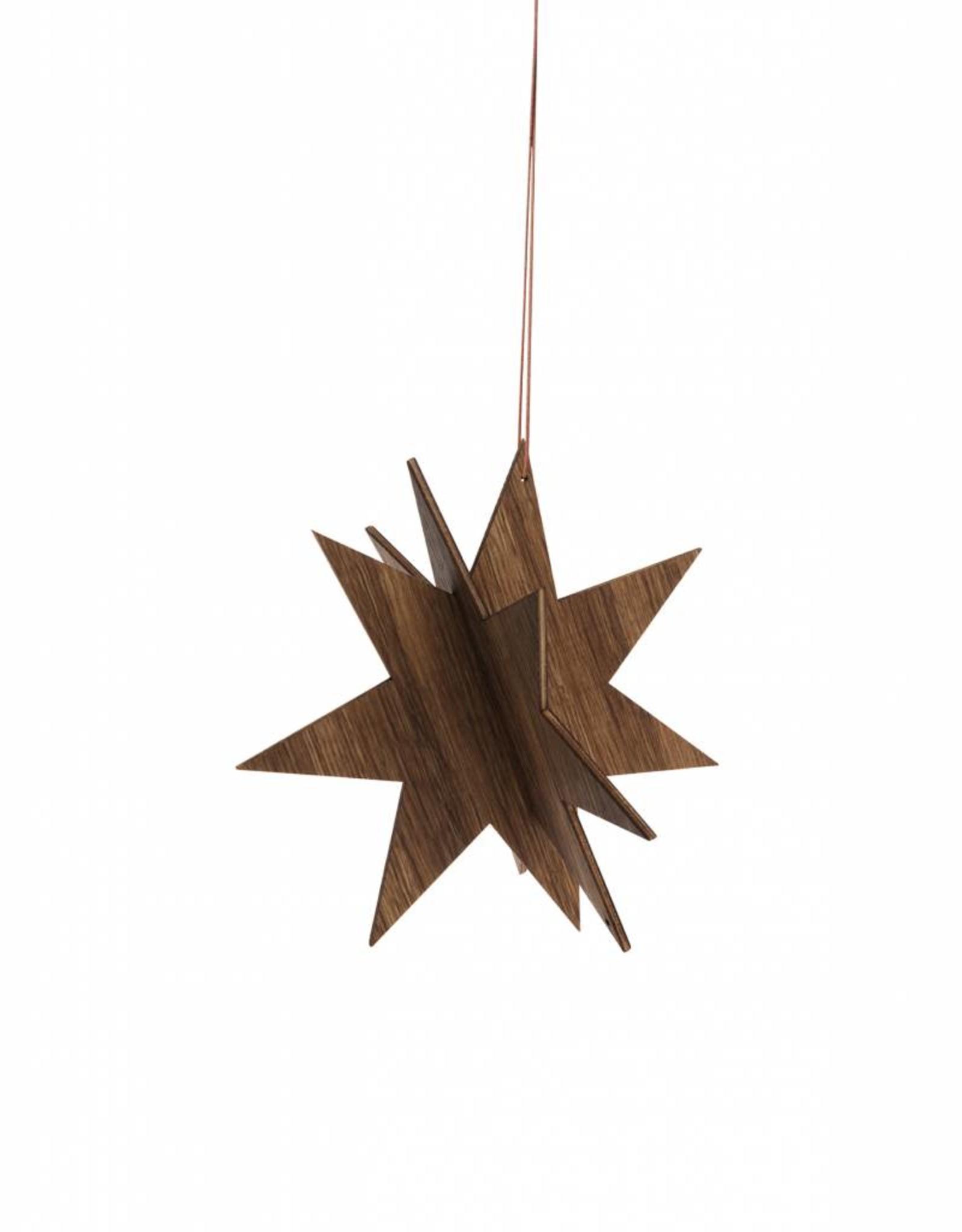 Ferm Living Wooden Star Medium - Fumé chêne