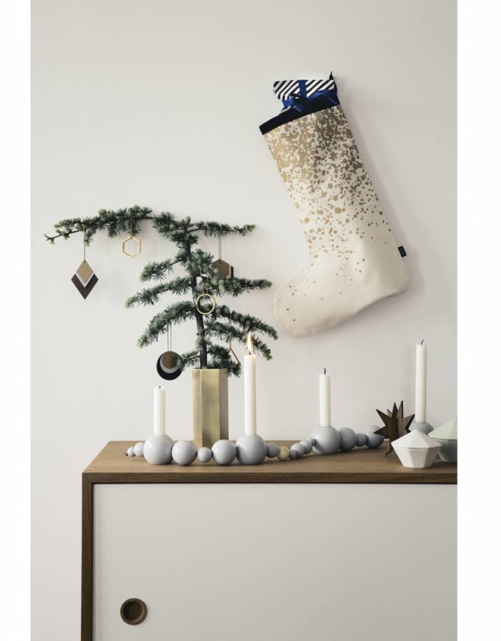 Ferm Living Christmas stocking gold splash