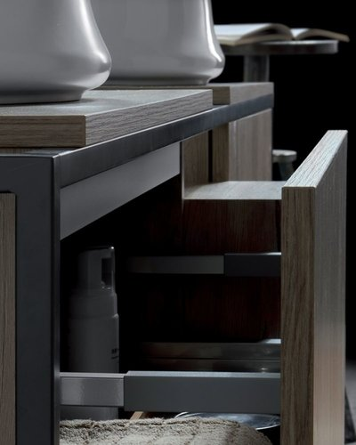 Badkamermeubel in metalen frame met 2 lades + open kast