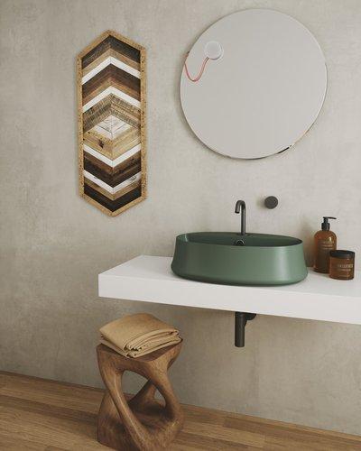 Ovale wastafel opbouw 60x42cm met kraangat