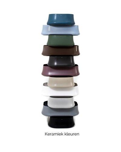 Pop-up waste  click-clack in kleur met overloop chroom