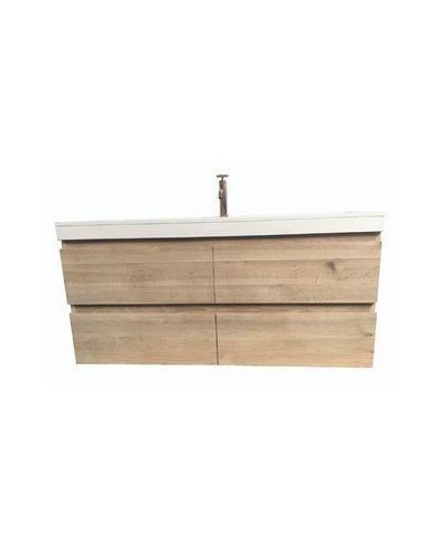 Badkamermeubel massief eiken met houten binnenlades Ameland