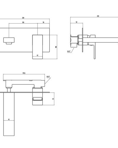 Design wastafelkraan wandmodel - Wilco