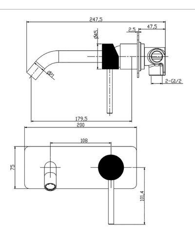 Lazio wastafelmengkraan inbouw met 1 hendel